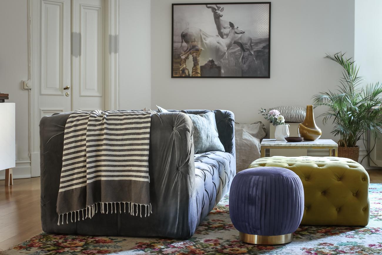 jotex stylist Drömma Lotta Liundberg sammetsoffa golvpuff soffa Åre